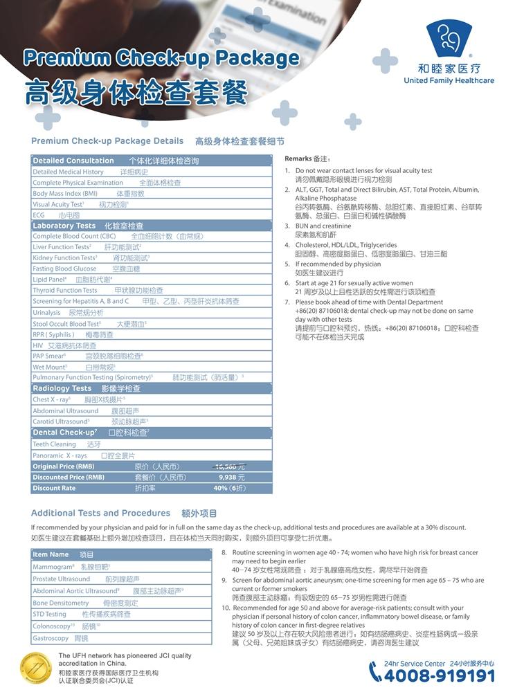 男女高级身体检查单张 W210XH285mm 180315